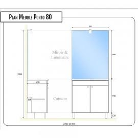 Meuble salle de bain ECOLINE 80 simple vasque résine - Blanc brillant
