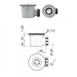 Bonde de douche chromée Ø 90mm - Wirquin