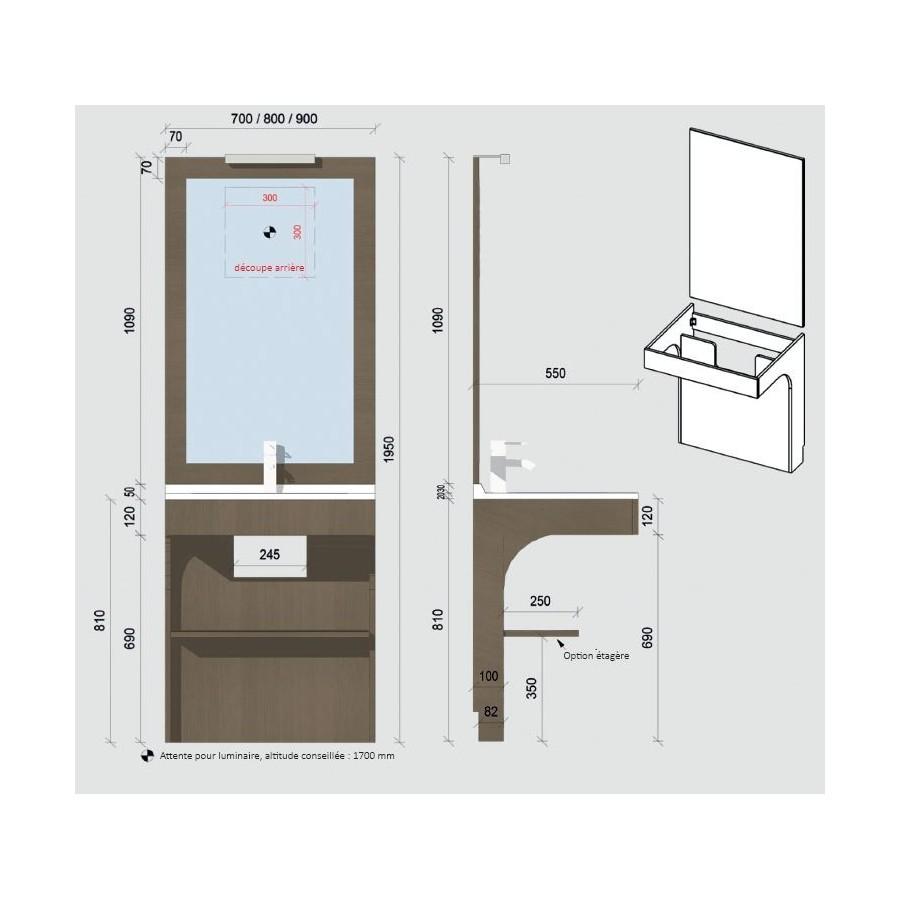 meuble pmr simple vasque avec miroir. Black Bedroom Furniture Sets. Home Design Ideas
