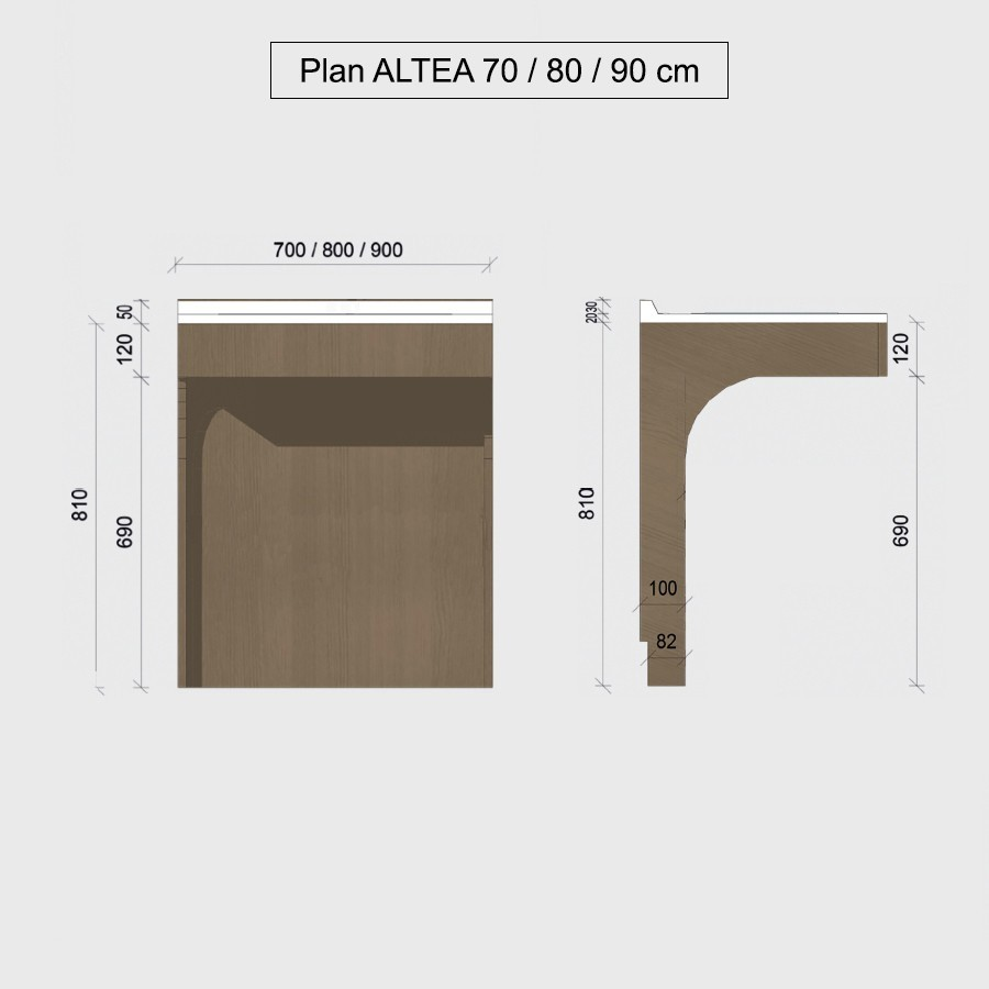 Caisson pmr simple vasque altea for Caisson meuble salle de bain