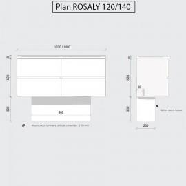 Caisson double vasque ROSALY 140 - Bois cambrian