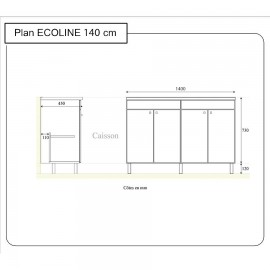 Caisson double vasque ECOLINE 140 - Blanc brillant