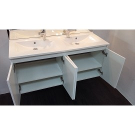 Caisson double vasque PROLINE 140 - Blanc brillant