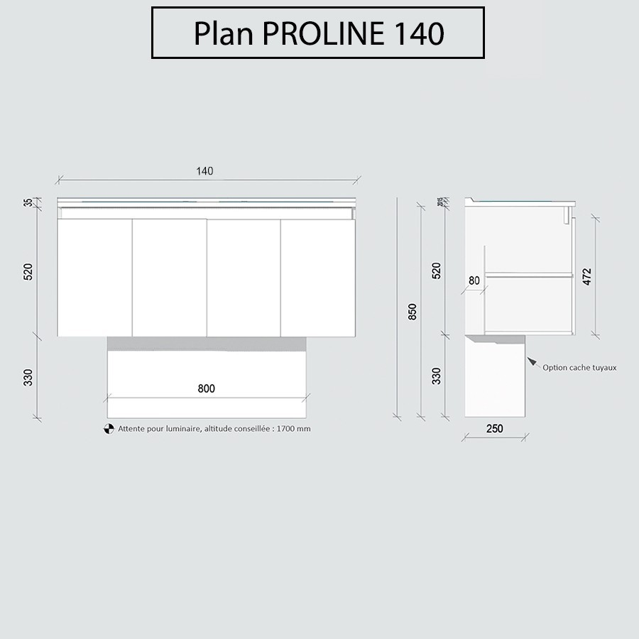 Caisson suspendu double vasque proline for Caisson meuble salle de bain