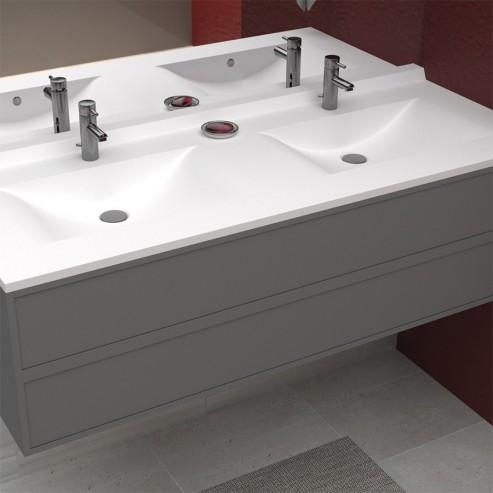 Plan vasque double en résine de salle de bain