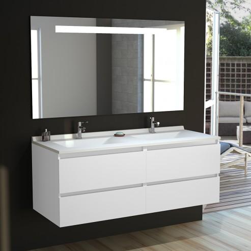 Meuble salle de bain double vasque ARLEQUIN 140x55 - 4 coloris au choix  miroir Elegance