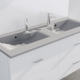 Plan vasque double gris béton prof 46 RÉSILOGE - 120 cm