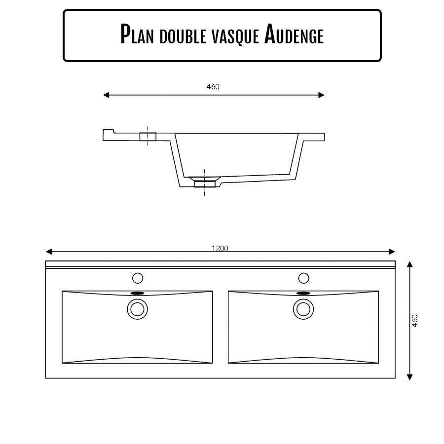 Plan Vasque Double En Céramique De Salle De Bain