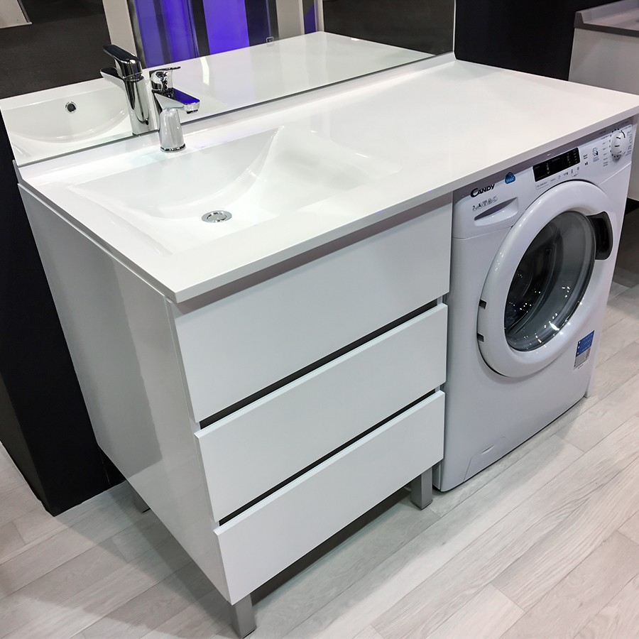meuble vasque gauche kora 124 ll g blanc hors ll unesalledebain. Black Bedroom Furniture Sets. Home Design Ideas
