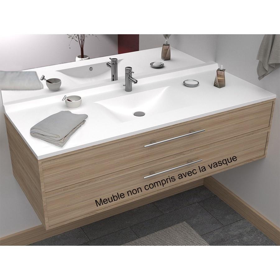 Plan vasque simple en r sine de salle de bain - Meuble salle de bain 120 cm simple vasque ...