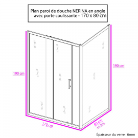 Paroi de douche d'angle 6 mm NERINA - 170*80cm