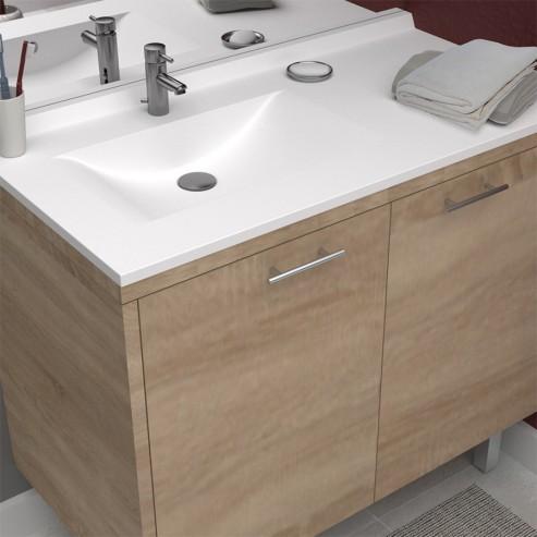 Plan simple vasque déportée RÉSIPLAN - 105 cm vasque à gauche