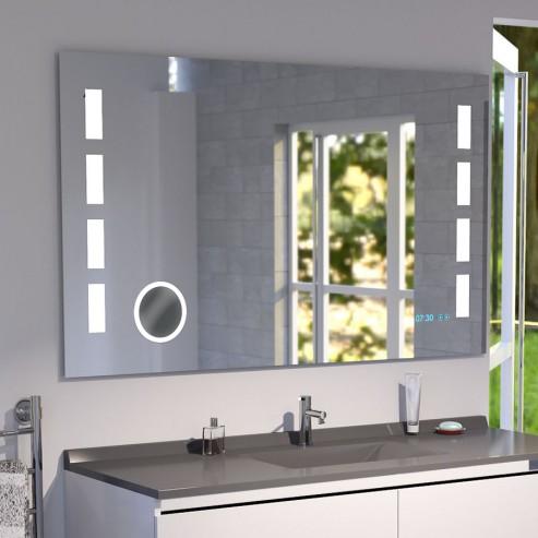 Miroir LED anti-buée EXCELLENCE 140x80 cm - avec interrupteur sensitif, horloge et loupe