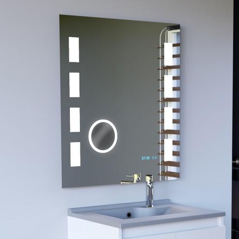 Miroir LED anti-buée EXCELLENCE 80x80 cm - avec interrupteur sensitif, horloge et loupe