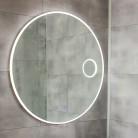 Miroir LED anti-buée RONDINARA - 80 cm - avec interrupteur sensitif, horloge et loupe