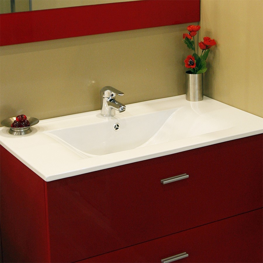 plan vasque simple en c ramique de salle de bain. Black Bedroom Furniture Sets. Home Design Ideas