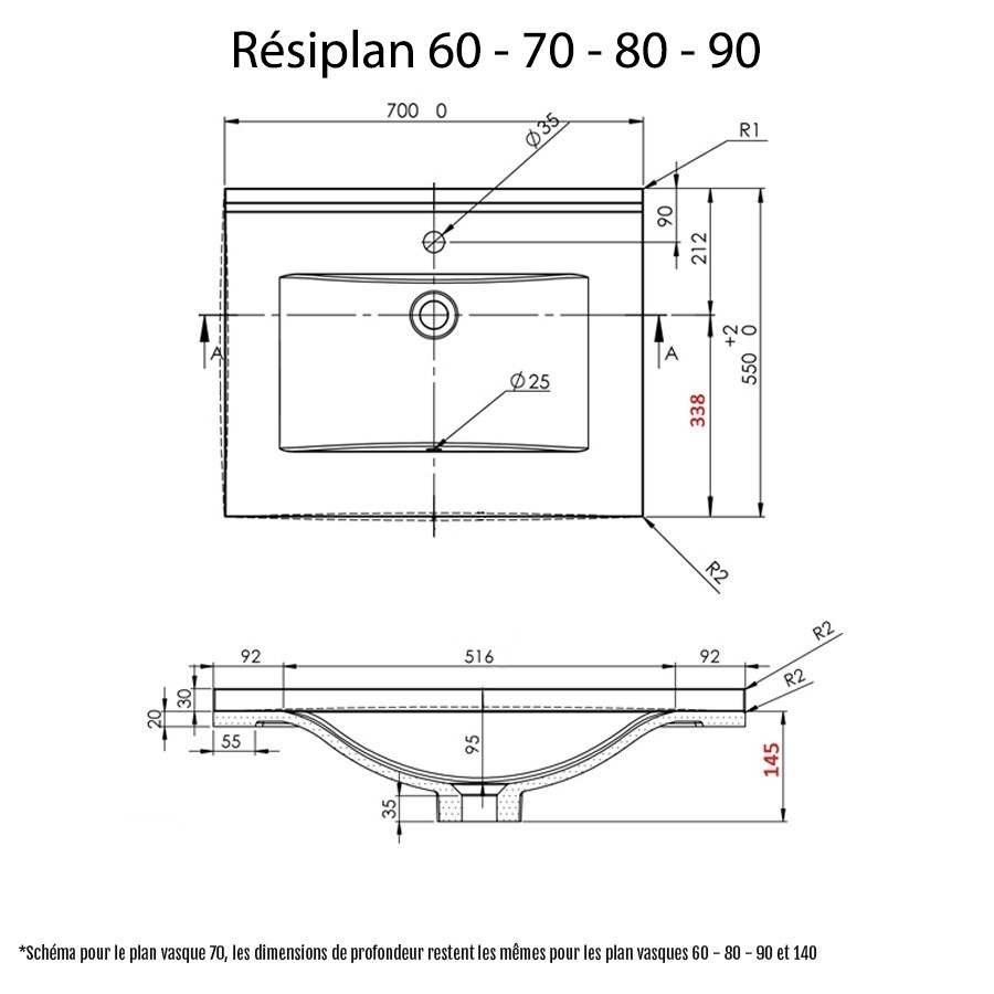 Salle De Bain Pmr Plan ~ plan vasque simple en r sine de salle de bain
