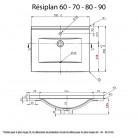 Plan simple vasque centrée RÉSIPLAN - 70 cm