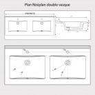Plan double vasque en résine RÉSIPLAN gris béton - 120 cm