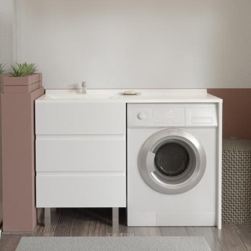 Meuble vasque à gauche KORA LL 124G - Blanc -hors miroir et LL
