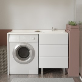 Meuble vasque à Droite KORA  LL 124D - Blanc -hors miroir et LL