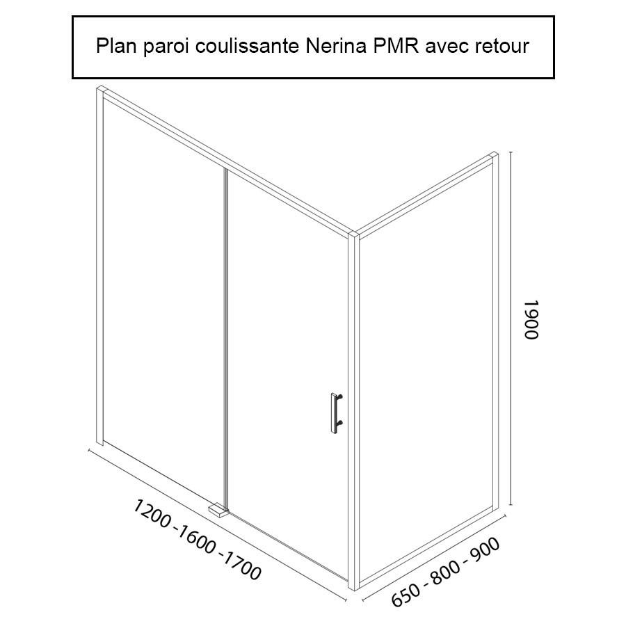 paroi de douche pmr d 39 angle 6 mm nerina retour opaque 160 65cm unesalledebain. Black Bedroom Furniture Sets. Home Design Ideas