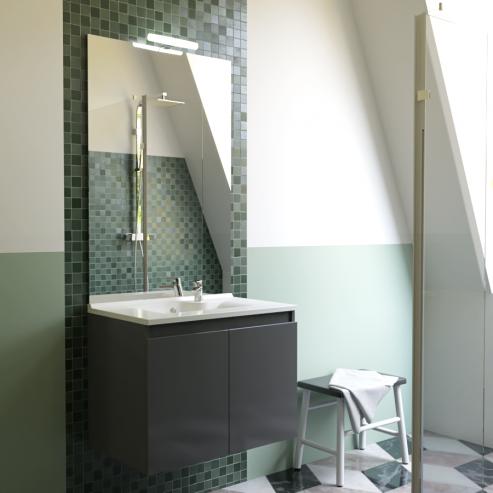 Meuble salle de bain simple vasque PROLINE 70 - Gris anthracite