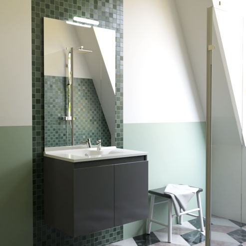 Meuble salle de bain simple vasque PROLINE 80 - Gris anthracite