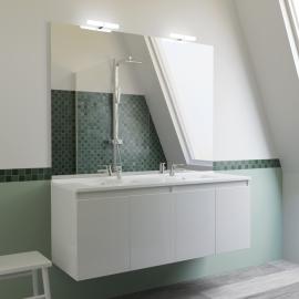 Meuble salle de bain double vasque PROLINE 140 - Blanc brillant