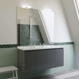 Meuble salle de bain double vasque PROLINE 120 - Gris brillant