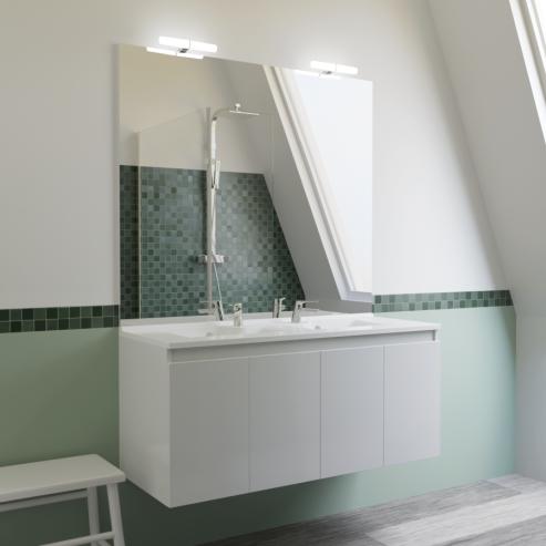 Meuble salle de bain double vasque PROLINE 120 - Blanc brillant