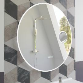Miroir LED anti-buée RONDINARA - 60 cm - avec interrupteur sensitif, horloge et loupe