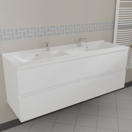 Caisson double vasque ROSALY 140 - Blanc brillant