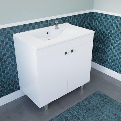 Caisson simple vasque ECOLINE 80 - Blanc brillant