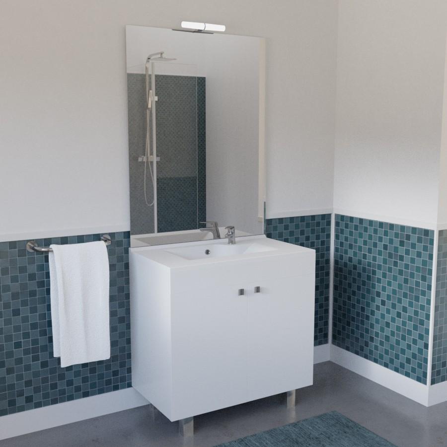 Meuble de salle de bain avec vasque et miroir - Meuble vasque salle de bain brico depot ...