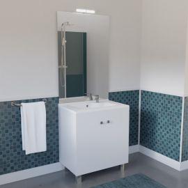 Meuble salle de bain ECOLINE 70 LED simple vasque résine - Blanc brillant