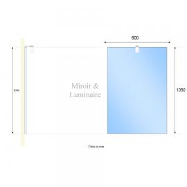 Miroir avec applique MIRCOLINE - 60 cm + applique