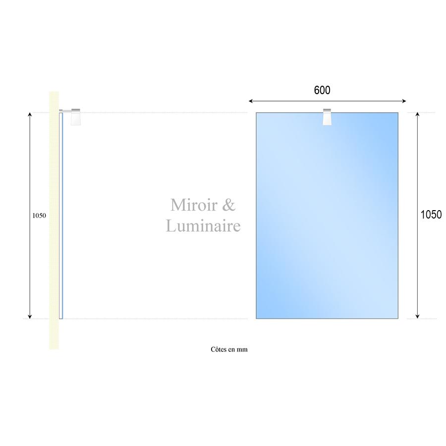 Miroir avec applique pour salle de bain for Miroir 60 cm de large