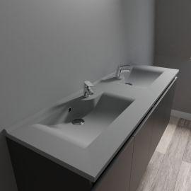 Plan vasque double gris béton prof 46 RÉSILOGE - 140 cm