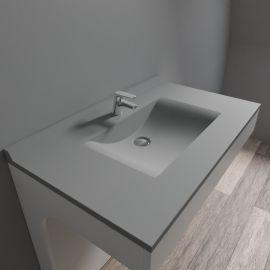 Plan simple vasque centrée RÉSIPLAN gris béton - 90 cm