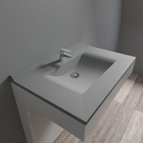 Plan simple vasque centrée RÉSIPLAN gris béton - 80 cm