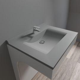 Plan simple vasque centrée RÉSIPLAN gris béton - 70 cm