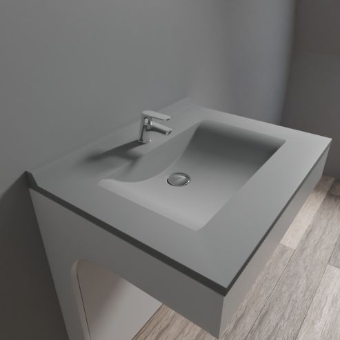 120 cm UneSalleDeBain Plan Double Vasque en r/ésine R/ÉSIPLAN Gris b/éton
