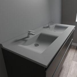 Plan double vasque en résine RÉSIPLAN gris béton - 140 cm
