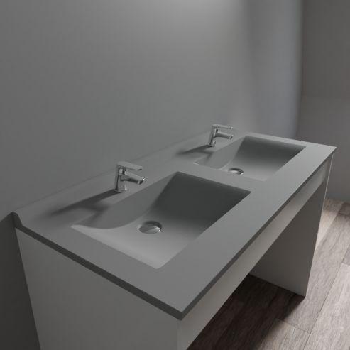 Plan Double Vasque En Resine Resiplan Gris Beton 120 Cm