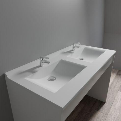 Plan double vasque en résine RÉSIPLAN - 120 cm