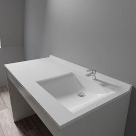 Plan simple vasque déportée RÉSIPLAN - 124 cm vasque à droite