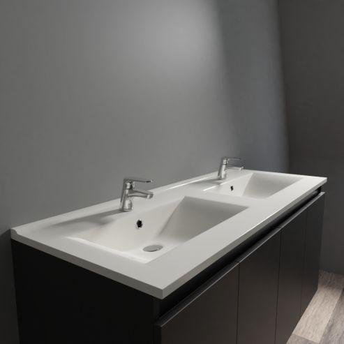 Plan double vasque céramique CÉRAPLAN - 120 cm