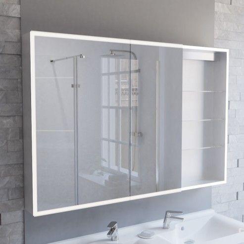 Armoire miroir LED ARMILED avec portes à gauche - 120 cm