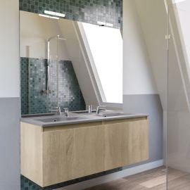 Meuble salle de bain PROLINE 140 avec plan double vasque gris béton - Cambrian Oak
